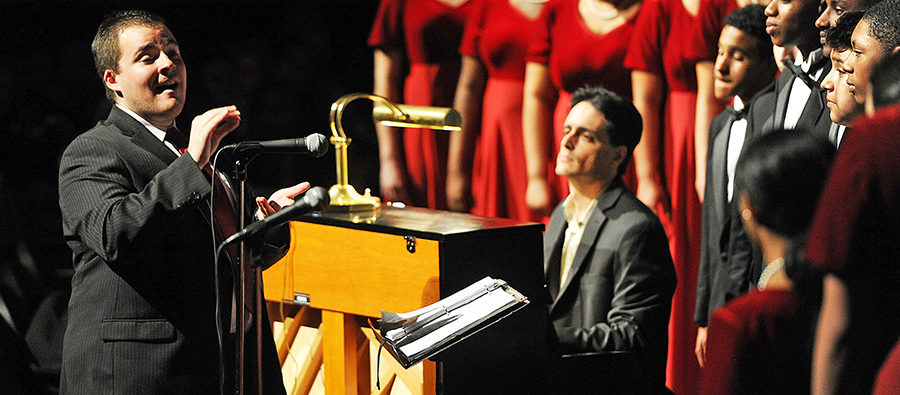 Concert choir conductor Matthew Cunningham during the Brockton High School music department Pops Concert on Wednesday, May  25, 2016. (Marc Vasconcellos/The Enterprise)